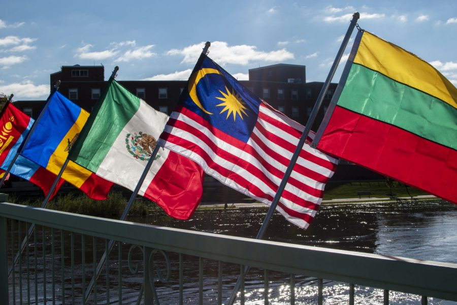 Various+flags+are+seen+on+Monday%2C+October+15%2C+2018.+There+are+120+flags+being+displayed+on+the+Iowa+Memorial+Union+Pedestrian+Bridge+to+recognize+the+international+students+on+campus.+