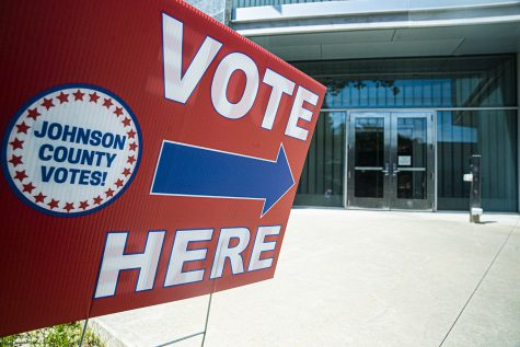 A Johnson County precinct indicator is seen outside The University of Iowa Visual Arts building on Tuesday, June 2, 2020. Counties all across Iowa along with eight other states are participating in the 2020 primary elections.