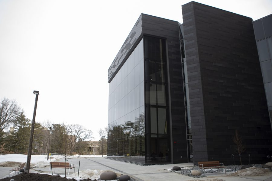 The+University+of+Iowa+Pharmacy+Building+is+seen+during+a+media+tour+on+Tuesday%2C+Feb.+3%2C+2020.+The+building+opened+its+doors+to+students+this+semester.+