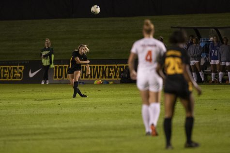 Iowa defender Riley Whitaker throws the ball during a soccer game between Iowa and Illinois on Sept. 26, 2019 at the Iowa Soccer Complex. The Hawkeyes defeated the Fighting Illini, 3-1.