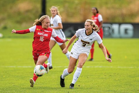 Iowa midfielder Hailey Rydberg makes a pass during a women's soccer match between Iowa and Maryland at the Iowa Soccer Complex on Sunday, October 13, 2019. The Hawkeyes shut out the Terrapins, 4-0.