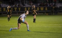 Goalkeeper Claire Graves narrowly blocks a goal during the women's soccer game against Nebraska at the Iowa Soccer Complex on Thursday, Oct. 3, 2019. The Hawkeyes defeated the Cornhuskers 1-0.