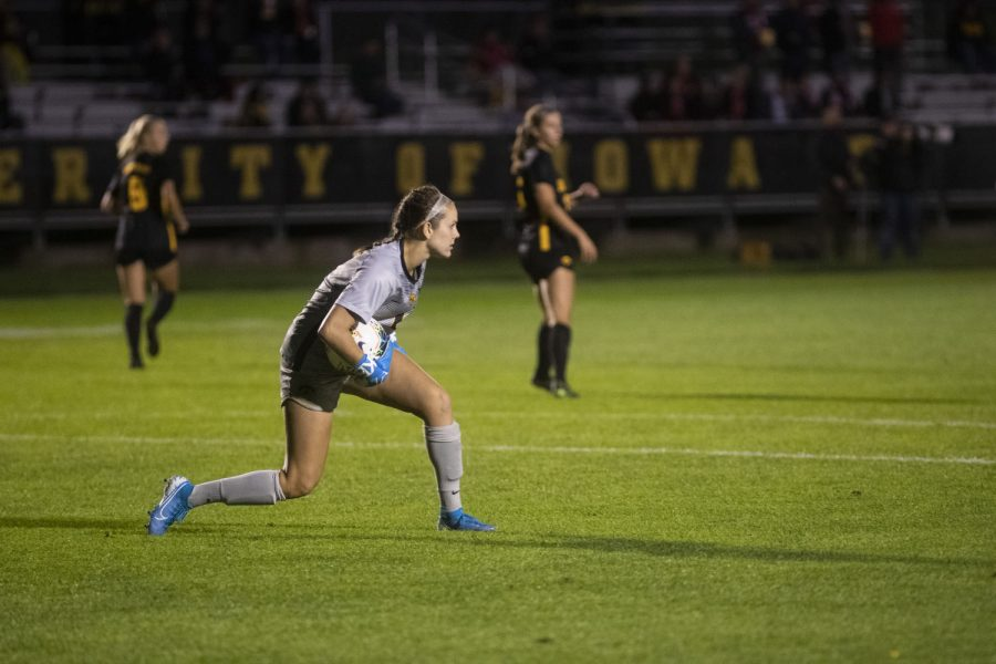 Goalkeeper+Claire+Graves+narrowly+blocks+a+goal+during+the+women%E2%80%99s+soccer+game+against+Nebraska+at+the+Iowa+Soccer+Complex+on+Thursday%2C+Oct.+3%2C+2019.+The+Hawkeyes+defeated+the+Cornhuskers+1-0.+