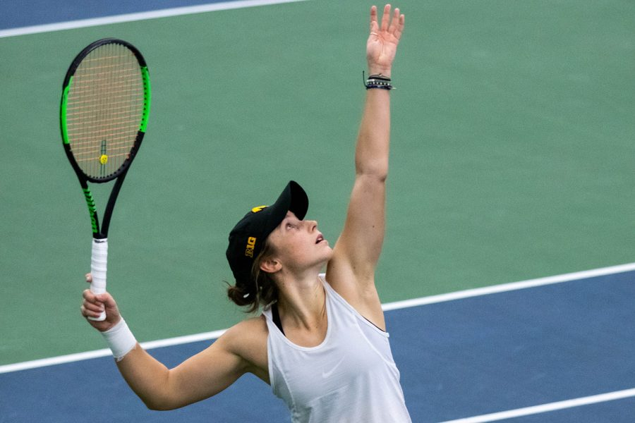 Iowa%27s+Elise+van+Heuvelen+serves+during+a+women%27s+tennis+match+between+Iowa+and+Kansas+State+at+HTRC+on+Sunday%2C+Feb.+23%2C+2020.+The+Hawkeyes+defeated+the+Wildcats+4-3.+