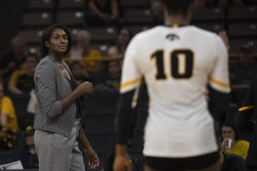 Iowa Head Coach Vicki Brown watches the Hawkeyes during a volleyball game against Coastal Carolina at Carver Hawkeye Arena on Friday, September 20, 2019. The Chanticleers defeated the Hawkeyes 3-1.