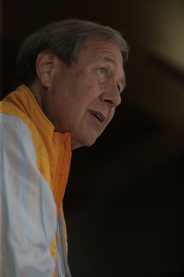 President Bruce Harreld answers a question during an interview with The Daily Iowan on Dec. 30, 2015 in the JW Marriott Los Angeles L.A. Live Hotel. President Harreld predicts Iowa to be victorious in the 2016 Rose Bowl football game against Stanford.
