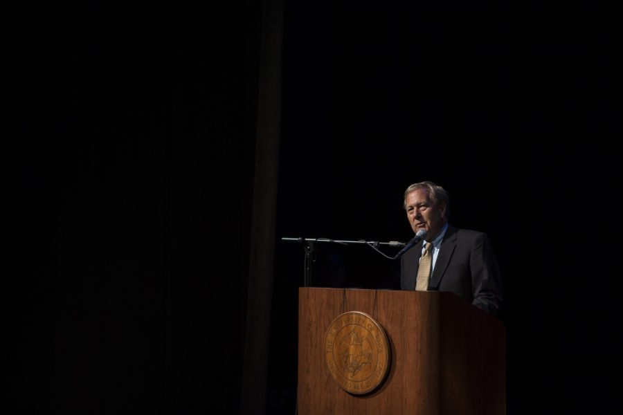 President Bruce Harreld speaks about the process and dedication the staff at Iowa have contributed to the new building at the Hancher Auditorium ribbon cutting ceremony on Sept. 9, 2016. The new Hancher Auditorium is open after years of construction and will have its first show on Sept. 24.