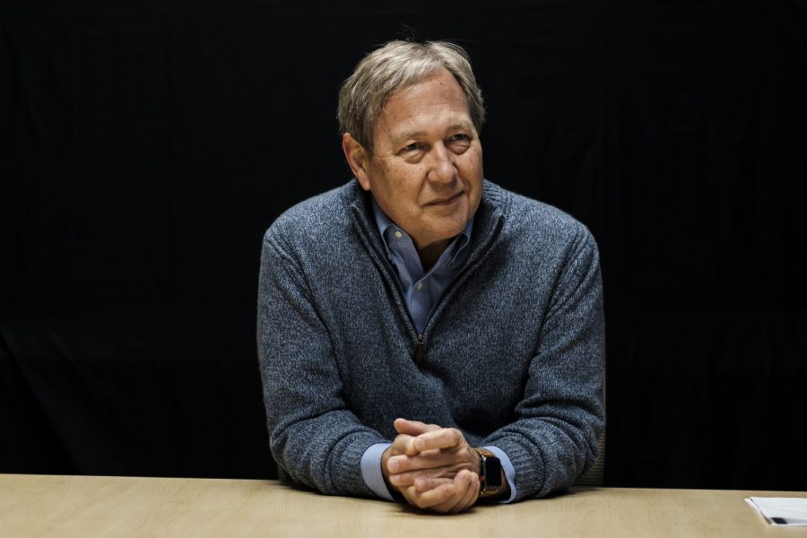 President Bruce Harreld answers questions during an interview on Dec. 7, 2017 at the Adler Journalism Building. The interview covered topics including tuition, alcohol in the Greek community, and financial aid.