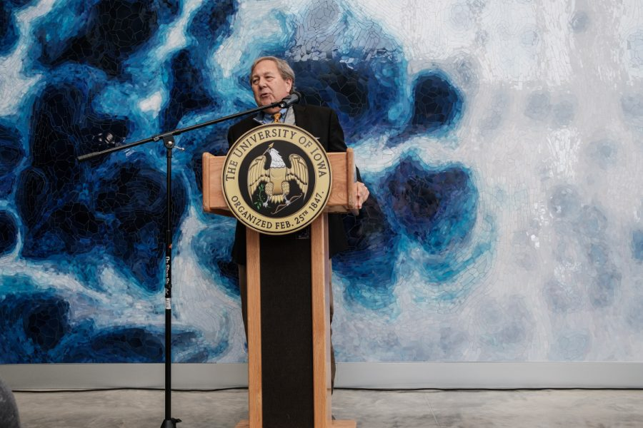 President Bruce Harreld speaks during the opening reception for the Psychological and Brain Sciences building on Jan. 24, 2020. The building has been under construction for two and a half years, but is ready for use by faculty and students for the spring semester of 2020.