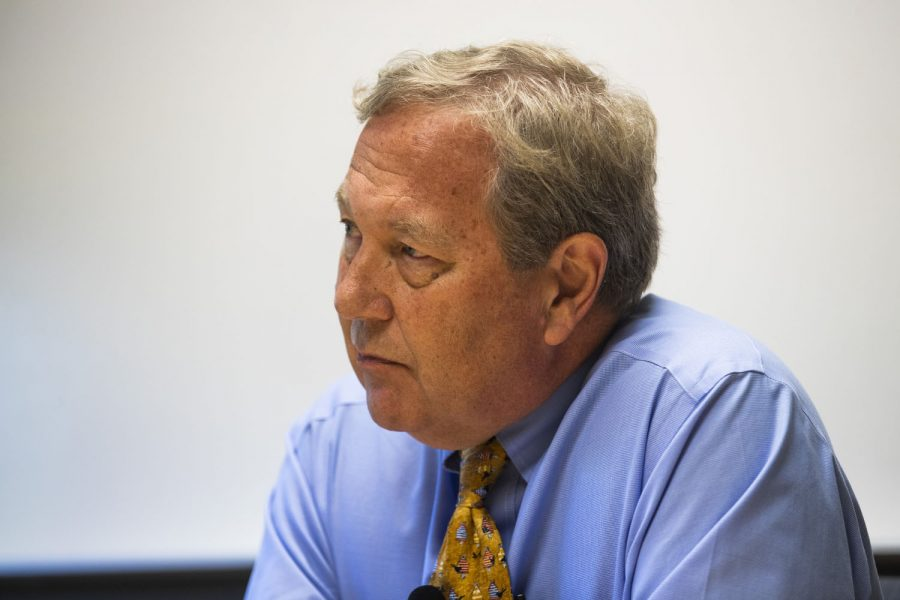 UI President Bruce Harreld answers a question in the Adler Journalism Building on Monday, September 23, 2019. President Harreld discussed his contract extension, the resignation of the Associate VP for Diversity, Equity, and Inclusion, the UI marching band investigation regarding incidents taken place during the Cy-Hawk football game.