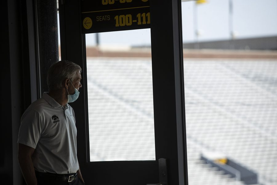 """Iowa Head Coach Kirk Ferentz looks down on the stadium before addressing members of the press during football media day in Kinnick Stadium on Thursday, Oct. 8, 2020. """"It's not a normal media day by any stretch, but what it does signify is that we're one step closer to getting on with football,"""" Ferentz said. """"It's been great to get started with practice."""""""