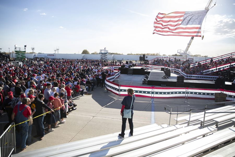 The crowd is seen during a Trump campaign rally on Wednesday, Oct. 14, 2020 at the Des Moines International Airport. Thousands of people showed up to hear President Donald Trump speak about his campaign and support Iowa republicans for the upcoming election.