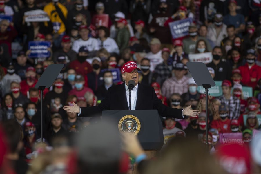 President Donald Trump speaks during a campaign rally on Wednesday, Oct. 14, 2020 at the Des Moines International Airport. Thousands of people showed up to hear President Trump speak about his campaign and support Iowa republicans for the upcoming election.