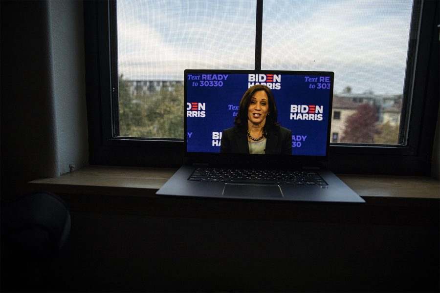 Candidate for Vice President of the United States Kamala Harris (D) speaks during the 2020 IDP Liberty and Justice Celebration on Sunday, October 18, 2020. Harris has served as a United States Senator for California since 2017. The live-streamed video was produced by the Iowa democratic party. (Ryan Adams/The Daily Iowan)