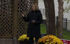 Rita Hart is seen speaking during her backyard tours on Saturday, Oct. 24, 2020.