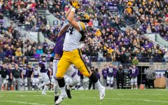 Iowa tight end Sam Laporta catches a pass during a game against Northwestern at Ryan Field on Saturday, October 26, 2019. The Hawkeyes defeated the Wildcats 20-0.