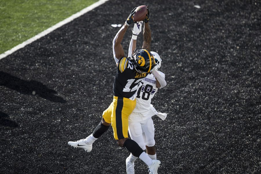 Iowa Wide Receiver Brandon Smith catches the first touchdown pass of the game during the Iowa v Northwestern football game at Kinnick Stadium on Saturday, Oct. 31, 2020.  Iowa is leading Northwestern with a score of 20-14 at the half. (Katie Goodale/The Daily Iowan)