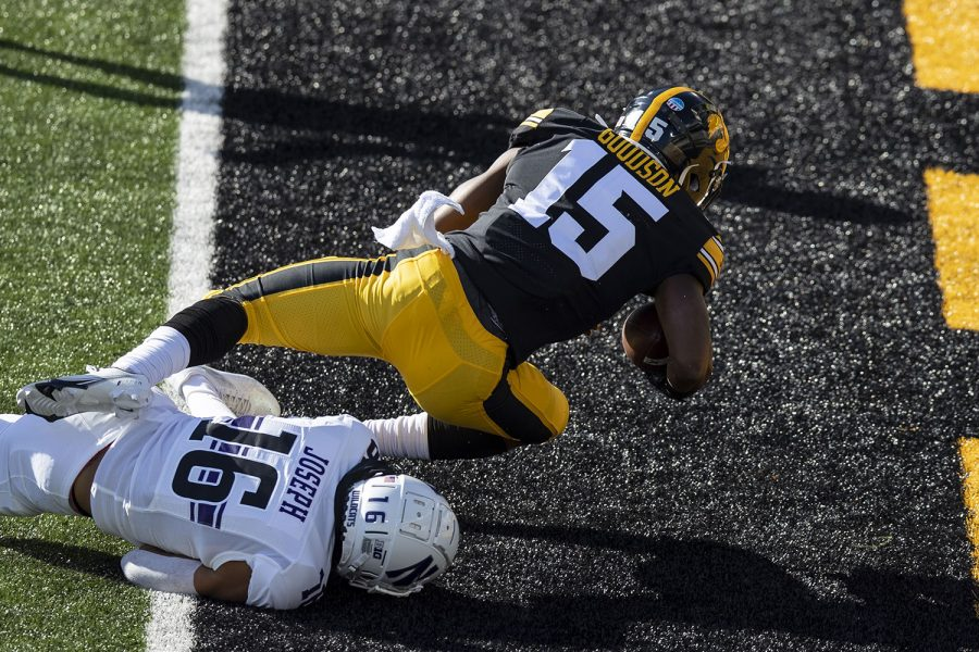 Iowa Running Back Tyler Goodson makes a touchdown during the Iowa v Northwestern football game at Kinnick Stadium on Saturday, Oct. 31, 2020.  The Wildcats defeated the Hawkeyes 21-20. Goodson's was the second touchdown for the Hawkeyes.