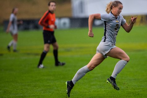 Iowa Midfielder Hailey Rydberg runs the pitch during the Iowa Women's Soccer game versus Northwestern at the Hawkeye Soccer Complex in Iowa City on Sunday, September 29, 2019. The Wildcats defeated the Hawkeyes 2-1 in overtime.