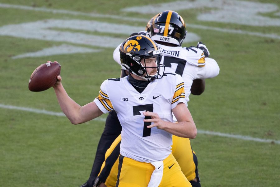 West+Lafayette%2C+Indiana%2C+USA%3B+Iowa+Hawkeyes+quarterback+Spencer+Petras+%287%29+passes+the+ball+in+the+second+quarter+against+the+Purdue+Boilermakers+at+Ross-Ade+Stadium+on+Saturday%2C+Oct.+24%2C+2020.+%28Trevor+Ruszkowski+-+USA+Today%29+