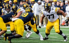 Iowa offensive lineman Alaric Jackson prepares to block during a football game between Iowa and Michigan in Ann Arbor on Saturday, October 5, 2019. The Wolverines celebrated homecoming and defeated the Hawkeyes, 10-3.