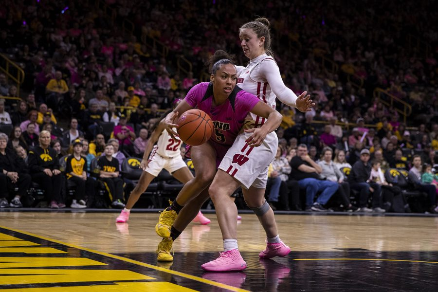 Iowa guard Alexis Sevillian drives the ball to the hoop during a women's basketball between Iowa and Wisconsin at Carver-Hawkeye Arena on Sunday, Feb. 16, 2020. The Hawkeyes defeated the Badgers 97-71.