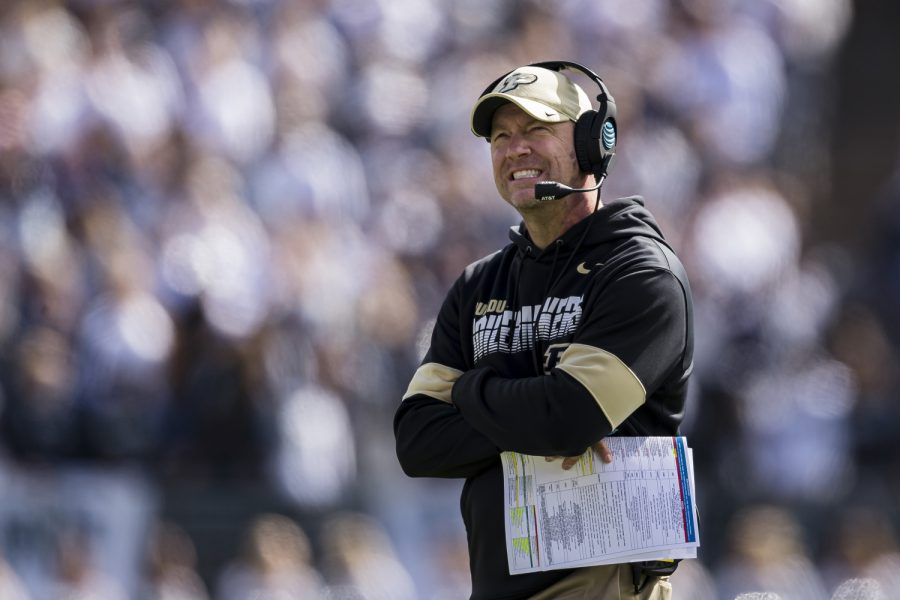 Purdue head coach Jeff Brohm looks on during a game against Penn State at Beaver Stadium in State College, Pennsylvania, on October 5, 2019.
