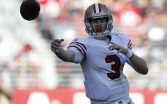 San Francisco 49ers starting quarterback C.J. Beathard (3) throws against the Los Angeles Rams in the fourth quarter on Sunday, Oct. 21, 2018 at Levi's Stadium in Santa Clara, Calif.
