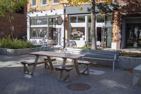 The outdoor seating near The Dandy Lion is pictured on Oct. 7, 2020. Downtown restaurants have been utilizing outdoor seating frequently during the summer months, but due to fall temperatures arriving, outdoor seating use is slowly decreasing.