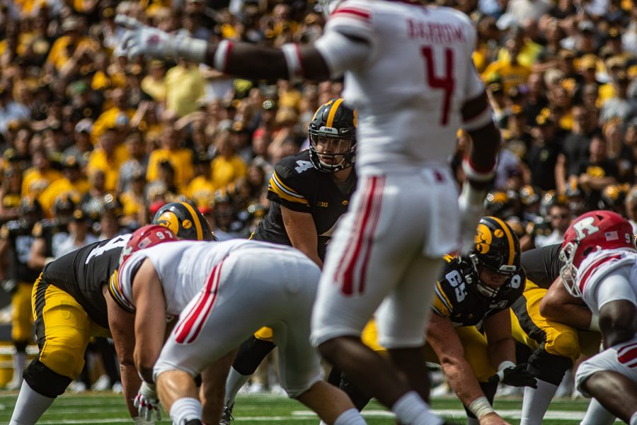 Iowa quarterback Nate Stanley prepares for a play during a football game between Iowa and Rutgers at Kinnick Stadium on Saturday, September 7, 2019. The Hawkeyes defeated the Scarlet Knights, 30-0.