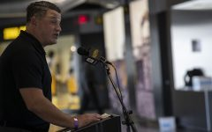 Offensive Coordinator Brian Ferentz addresses members of the press during football media day in Kinnick Stadium on Thursday, Oct. 8, 2020. (Katie Goodale/The Daily Iowan)
