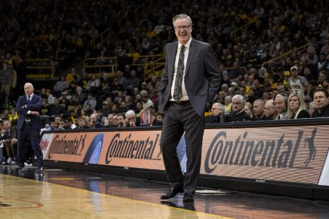 Iowa Head Coach Fran McCaffery laughs at a call during a men's basketball game between Iowa and Penn State on Saturday, Feb. 29 at Carver-Hawkeye Arena. The Hawkeyes defeated the Nittany Lions 77-68.