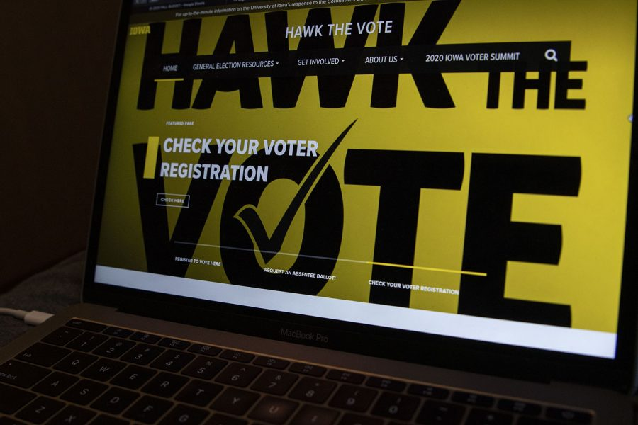 The+Hawk+the+Vote+website+is+seen+on+Monday%2C+Sept.+14%2C+2020.+