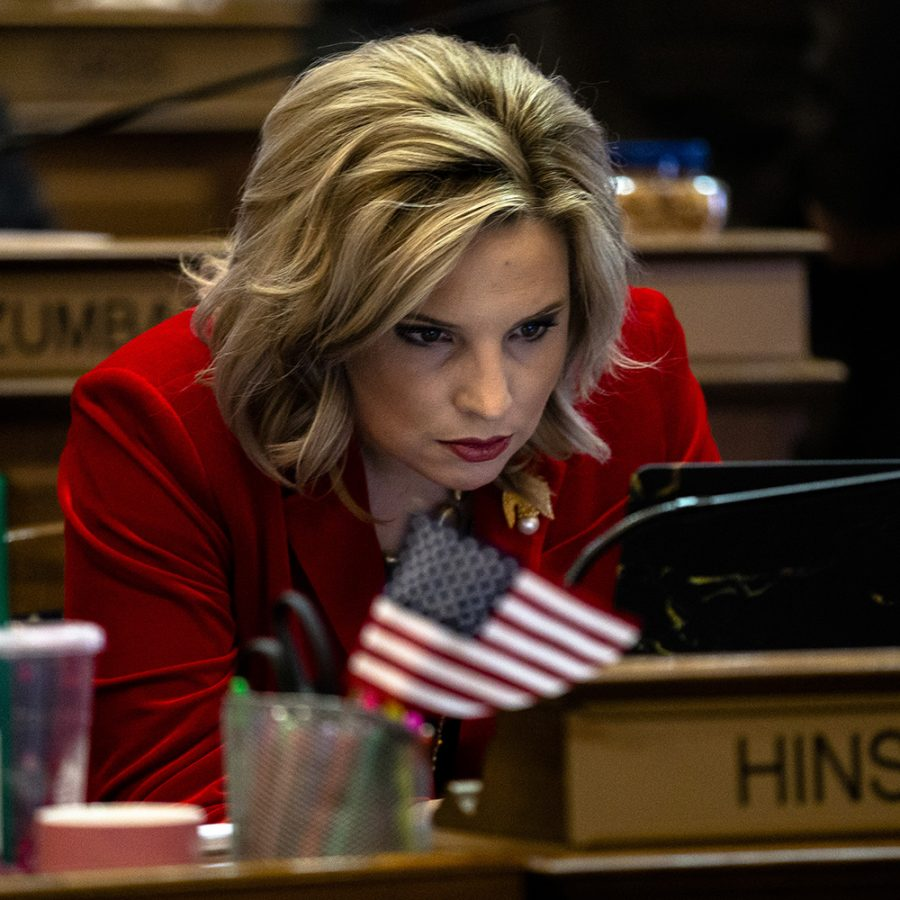 Rep. Ashley Hinson looks at her computer at the Iowa State Capitol on Monday, January 13, 2020. The House convened and leaders in the Iowa House of Representatives gave opening remarks to preview their priorities for the 2020 session.