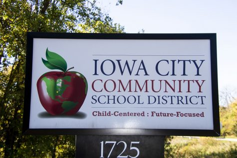 Iowa City Community School District sign 1725 North Dodge St.. As seen on Thursday,Oct.15,2020.