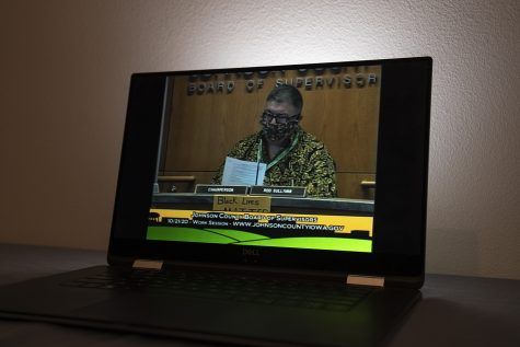 Chairperson Rod Sullivan reads the agenda during the Johnson County Board of Supervisors Work Session meeting that was held online at 9:00 AM on Wednesday, Oct. 21, 2020.