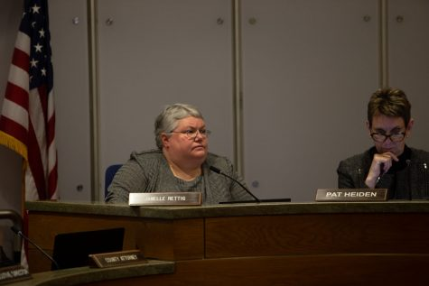 Johnson County Supervisor Janelle Rettig  listens to a presentation during a meeting on Thursday, Feb. 12, 2020.