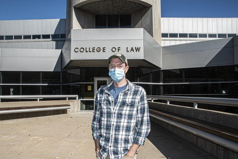 University of Iowa third year law student, Paul Esker poses for a portrait in front of the Boyd Law Building on Wednesday, October 7th, 2020. Esker, along with 176 other law students students and faculty across Iowa
