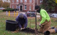 University of Iowa arborists, Alan Allgood (left) and Andy Dahl (right), plant a red maple tree from Henry David Thoreau's garden during the Literary Grove tree planting by the University of Iowa Arborists and Writers' Workshop at the Dey House on Oct. 23.