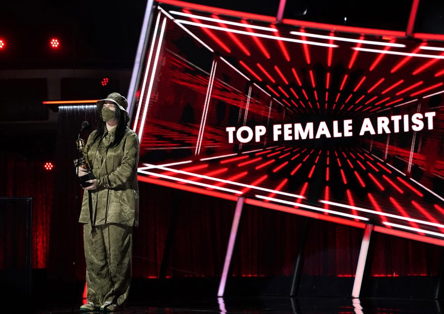 Billie Eilish wins for Top Female Artist during the Billboard Music Awards held at the Dolby Theatre in Hollywood on Wednesday, Oct. 14, 2020. (Andrew Gombert/Los Angeles Times/TNS)