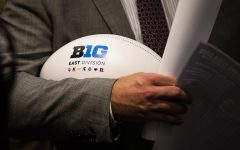 A football is seen during the second day of Big Ten Football Media Days in Chicago, Ill., on Friday, July 19, 2019.