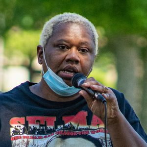 """Johnson County supervisor Royceann Porter speaks during the final session of the """"Speak Up, Speak Out"""" series at Mercer Park on Saturday, June 6, 2020. Mayor Bruce Teague invited spectators to voice their thoughts and frustrations."""