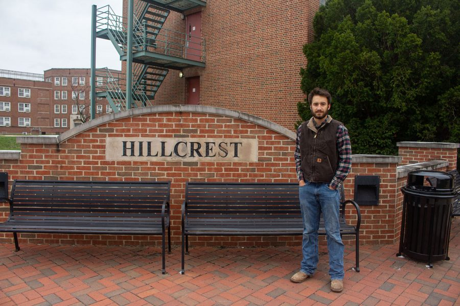 University of Iowa freshman, Ethan Herzberg, poses for a portrait in front of Hillcrest Residence Hall on Oct. 26.