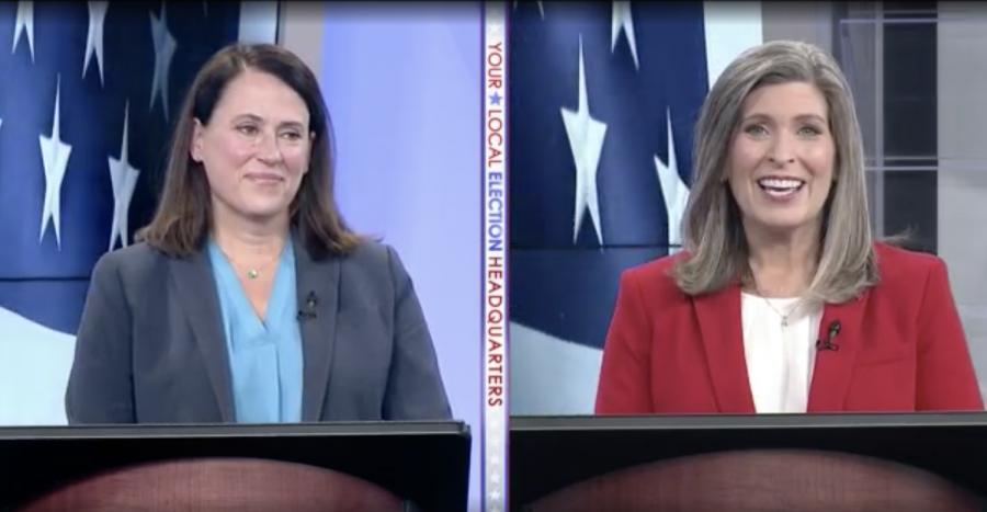 Joni+Ernst+and+Theresa+Greenfield+point+fingers+in+second+U.S.+Senate+debate