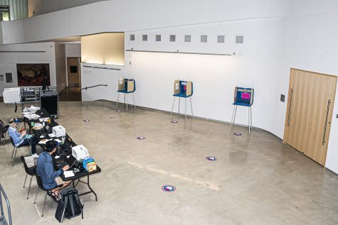 A voting site is seen in the University of Iowa Visual Arts Building on Tuesday, June 2, 2020. Counties all across Iowa along with eight other states are participating in the 2020 primary elections.