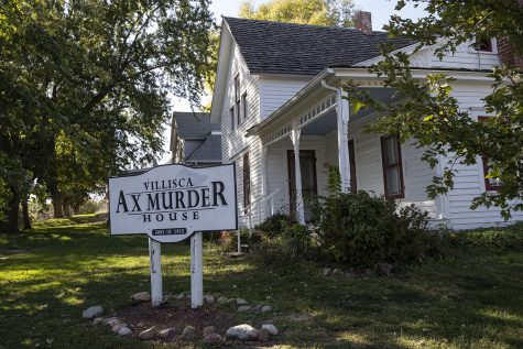 The Villisca Ax Murder House is seen in Villisca, Iowa on Sept. 30, 2020. Villisca is the site of one of the oldest cold cases in Iowa in which eight people were murdered in their beds. The killer was never found, sparking many theories and interest in the case. The house, which was renovated and reopened as a museum to the public, is now the site of paranormal activity and attracts thousands of tourists every year. The date on the sign, June 10, 1912 is the morning the Moore's and Stillinger children were found murdered.