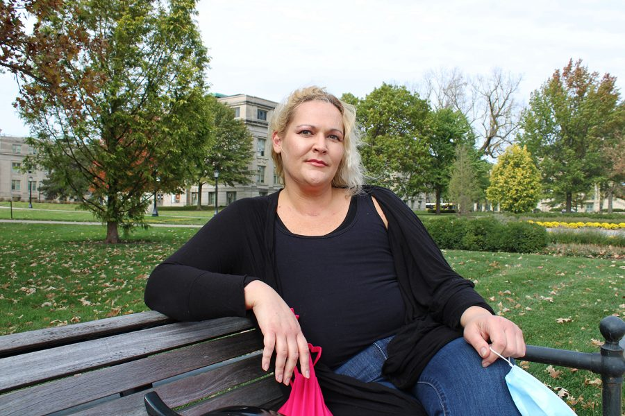 Tara Armstrong is seen on the Pentacrest on October 14, 2020. Armstrong got a mastectomy in 2013 in order to prevent breast cancer. However, the breast implants she received immediately after ended up causing another type of cancer—Active Multiple Myeloma.