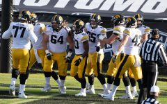 West Lafayette, Indiana, USA; Iowa Hawkeyes running back Mekhi Sargent (10) celebrates his touchdown with teammates in the second quarter against the Purdue Boilermakers at Ross-Ade Stadium on Saturday Oct. 24, 2020. (Trevor Ruszkowski - USA TODAY)
