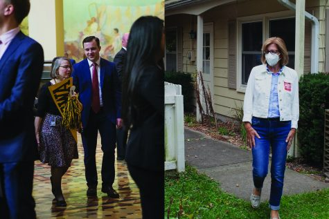 In this diptych, Iowa State Sen. Marinette Miller-Meeks is seen on April 9, 2019 and Democratic candidate Rita Hart are seen Sept. 26, 2020.