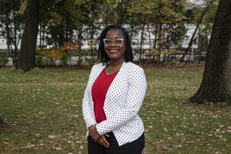 University of Iowa AfroHouse director Shalisa Gladney poses for a portrait in Oak Grove Park on Thursday, October 22nd, 2020.